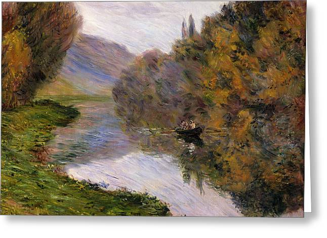 French Signs Greeting Cards - Boat on the Seine near Jeufosse Greeting Card by Claude Monet