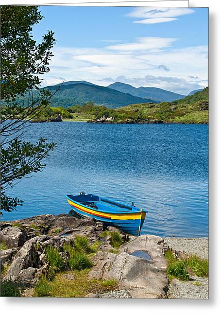 Jane Mcilroy Greeting Cards - Boat on Upper Lake Killarney Greeting Card by Jane McIlroy