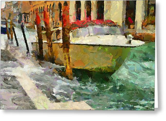Venice Tour Greeting Cards - Boat on Venice Canals Greeting Card by Yury Malkov