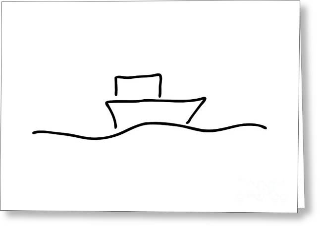 Boat Or Ship On Trip On The Sea Greeting Card by Lineamentum