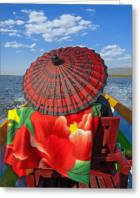 Umbrellas Pyrography Greeting Cards - Boat Passanger with Pathein Umbrella Greeting Card by Judith Barath