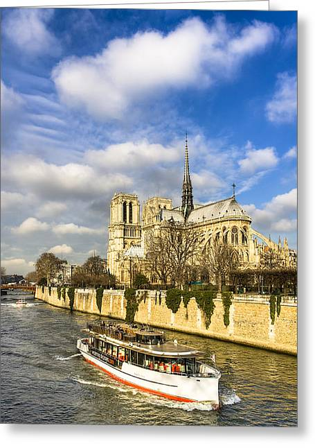 Boat Cruise Greeting Cards - Boat Passing Notre Dame de Paris  Greeting Card by Mark Tisdale