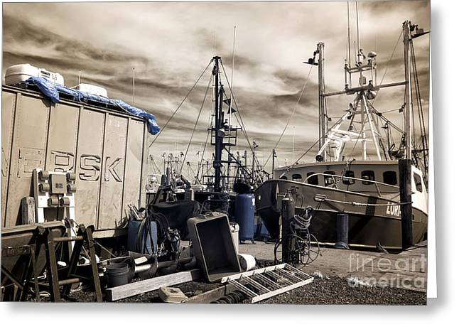 Brown Tones Greeting Cards - Boat Preparation Infrared Greeting Card by John Rizzuto