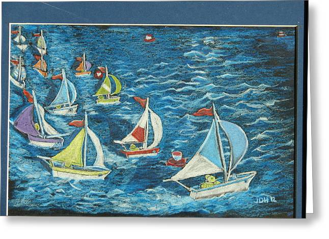 Stormy Weather Drawings Greeting Cards - Boat Race/bernie And Joe Greeting Card by Joseph Hawkins