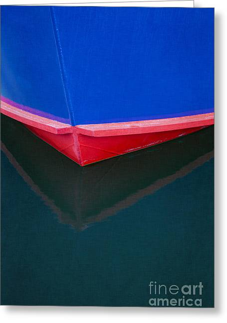 Blue Sailboats Greeting Cards - Boat reflection Greeting Card by Elena Nosyreva