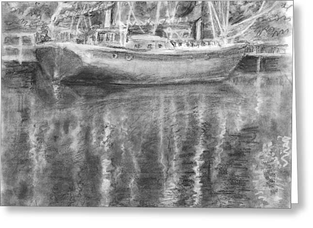 Office Space Drawings Greeting Cards - Boat Reflection Greeting Card by Sarah Parks