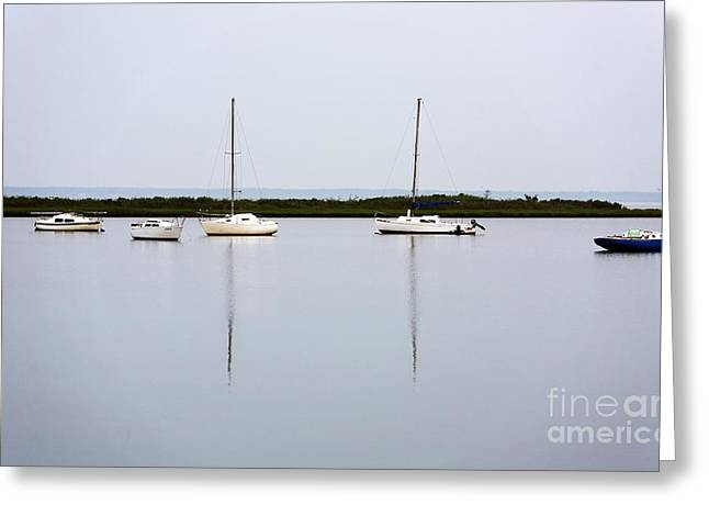 Boat Reflections Greeting Card by John Rizzuto