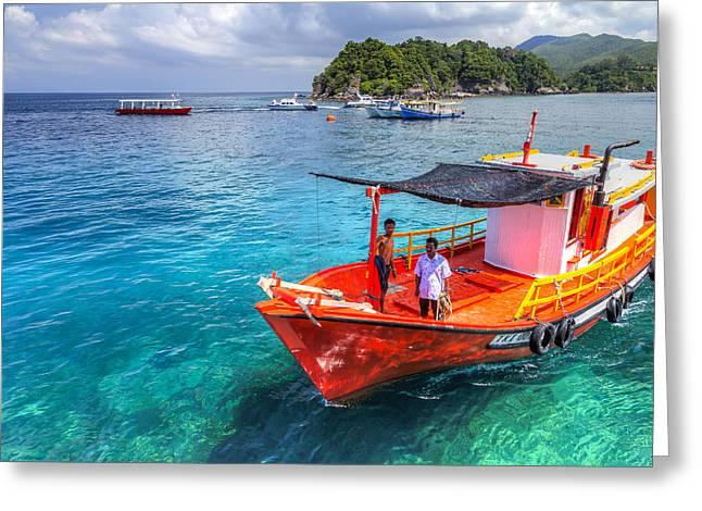 Redang Greeting Cards - Boat Ride Greeting Card by Mario Legaspi