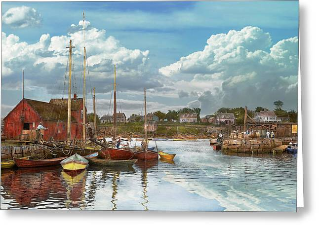 Row Boat Greeting Cards - Boat - Rockport Mass - Motif Number One - 1906 Greeting Card by Mike Savad