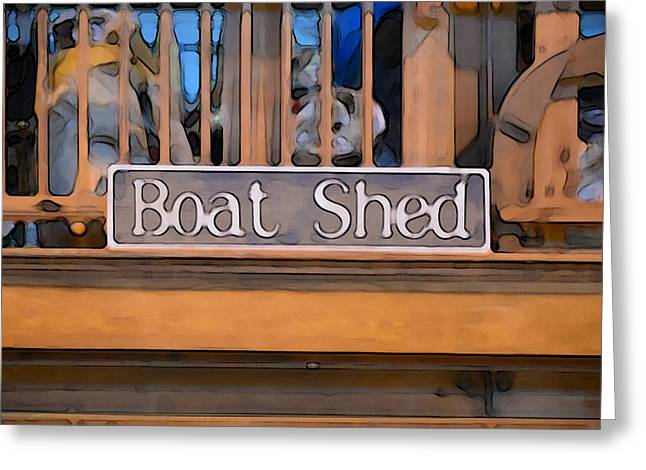 Manufacturing Paintings Greeting Cards - Boat Shed 1 Greeting Card by Lanjee Chee