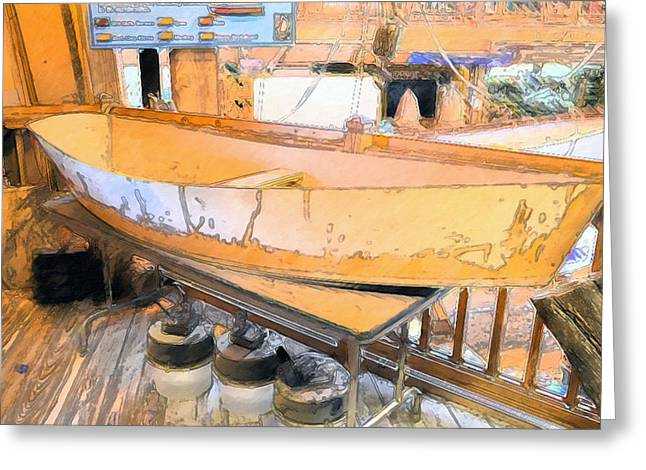 Manufacturing Paintings Greeting Cards - Boat Shed 7 Greeting Card by Lanjee Chee