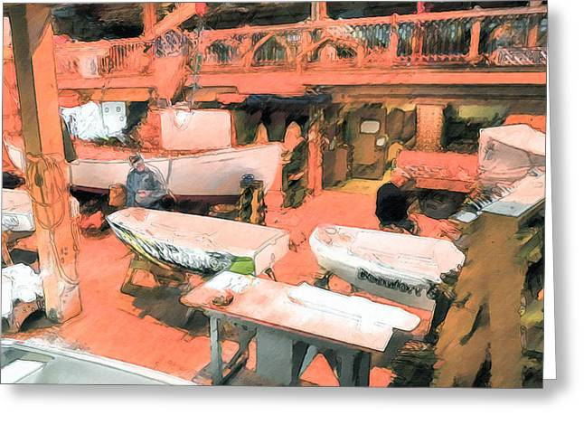 Manufacturing Paintings Greeting Cards - Boat Shed 8 Greeting Card by Lanjee Chee