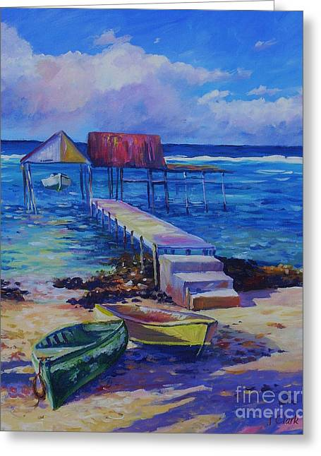 Shed Paintings Greeting Cards - Boat Shed and Boats Greeting Card by John Clark