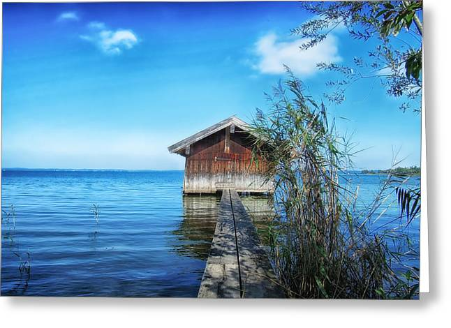 Boat Shed Greeting Cards - Boat Shed on the Lake Greeting Card by Mountain Dreams
