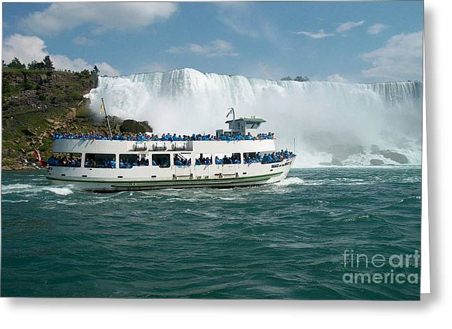 Schooner Greeting Cards - Boat Ship taking travellers to Niagara Falls view from Casino Casinorama  Ontario Canada Vacation Tr Greeting Card by Navin Joshi