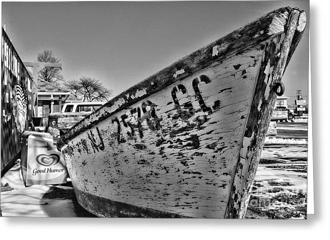 Row Boat Greeting Cards - Boat - State of Decay in Black and White Greeting Card by Paul Ward