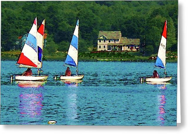 Boats Greeting Cards - Boat - Striped Sails Greeting Card by Susan Savad