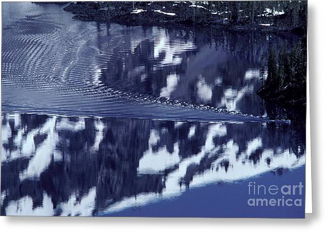 Reflecting Water Greeting Cards - Boat Touring Crater Lake Greeting Card by Ron Sanford