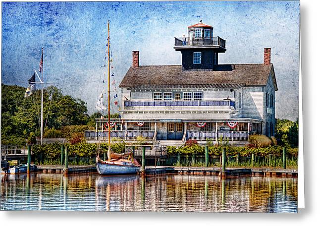 Ahoy Greeting Cards - Boat - Tuckerton Seaport - Tuckerton Lighthouse Greeting Card by Mike Savad