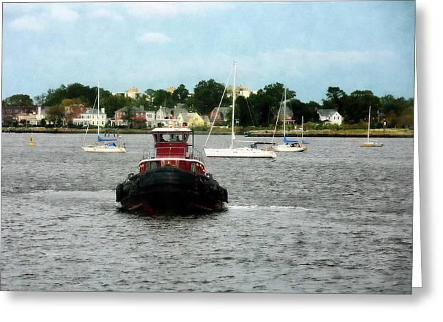 Tugboat Greeting Cards - Boat - Tugboat Bow Norfolk VA Greeting Card by Susan Savad
