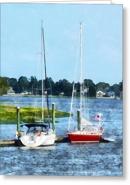 Sail Boat Greeting Cards - Boat - Two Docked Sailboats Norwalk CT Greeting Card by Susan Savad