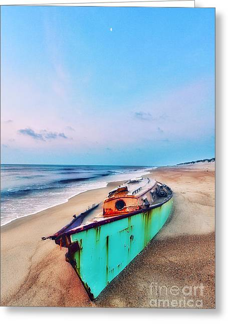 Storm Prints Photographs Greeting Cards - Boat Under Morning Moon Outer Banks I Greeting Card by Dan Carmichael