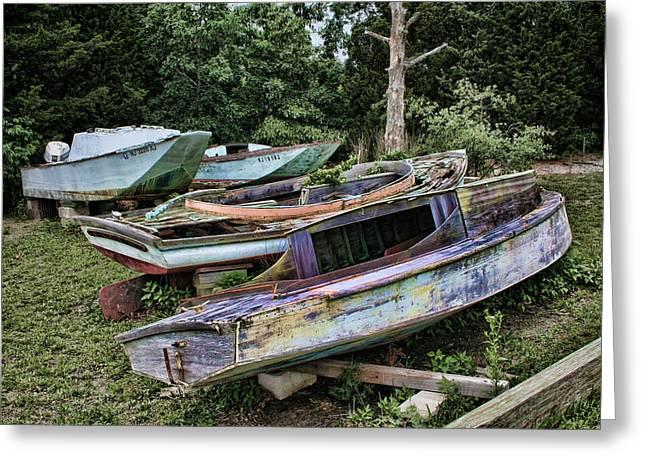 Boat Yard Greeting Card by Heather Applegate