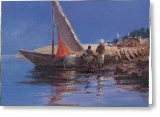 Kenya Greeting Cards - Boat Yard, Kilifi, 2012 Acrylic On Canvas Greeting Card by Lincoln Seligman
