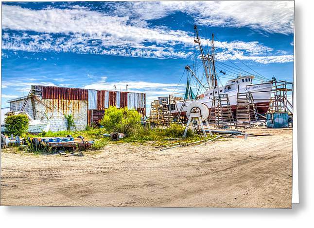Wooden Ship Greeting Cards - Boat Yard Greeting Card by Stan Ramsay