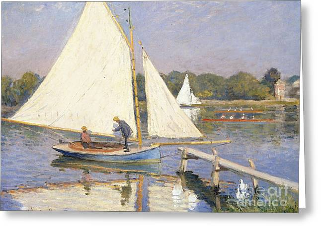 Docked Sailboats Greeting Cards - Boaters at Argenteuil Greeting Card by Claude Monet
