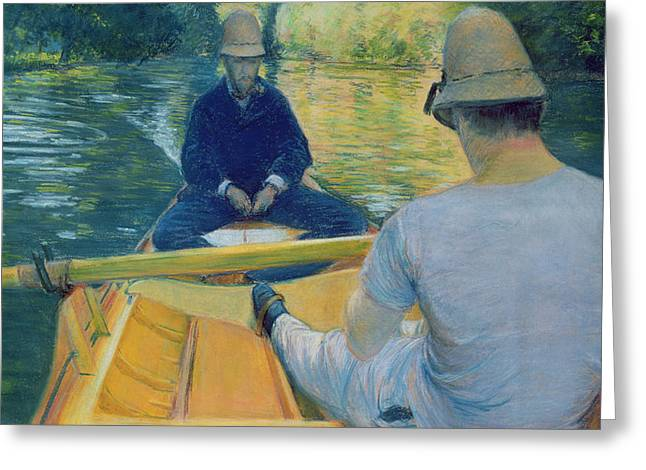 Boaters On The Yerres Greeting Card by Gustave Caillebotte
