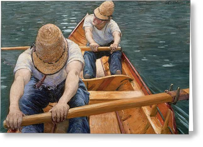 Rowers Paintings Greeting Cards - Boaters Rowing on the Yerres Greeting Card by Gustave Caillebotte
