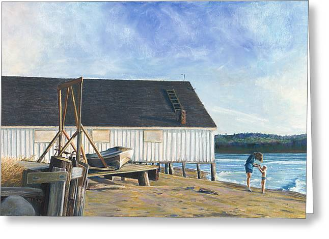 Birdseye Art Studio Greeting Cards - Boathouse at Lisabuela Beach Greeting Card by Nick Payne