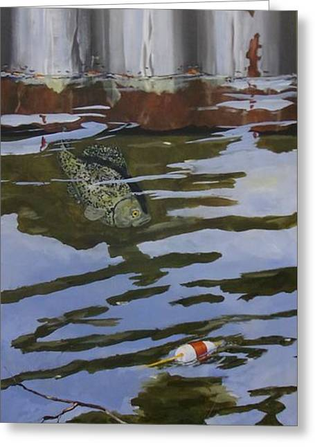 Decorative Fish Greeting Cards - Crappie fish A Greeting Card by Michael Dillon