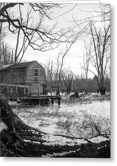 Concord Greeting Cards - Boathouse in Winter Greeting Card by Allan Morrison