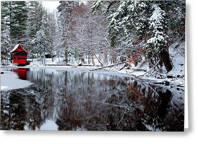 Patterson House Greeting Cards - Boathouse in Winter on Beaver Brook Greeting Card by David Patterson