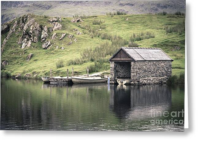 Dingy Greeting Cards - Boathouse Greeting Card by Jane Rix