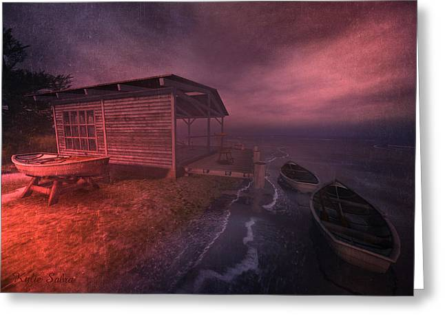 Boathouse Greeting Card by Kylie Sabra