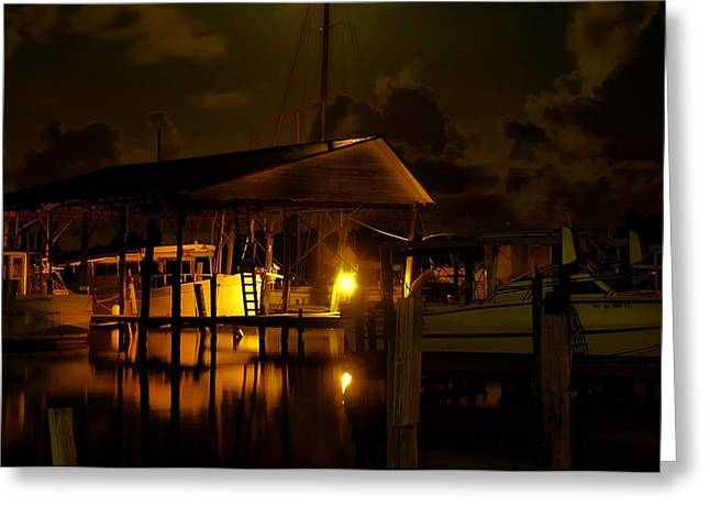 Alabama Greeting Cards - Boathouse Night Glow Greeting Card by Michael Thomas