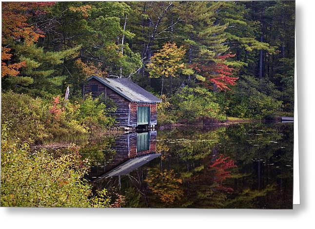 Tamworth Greeting Cards - Boathouse Reflection Greeting Card by Eric Gendron