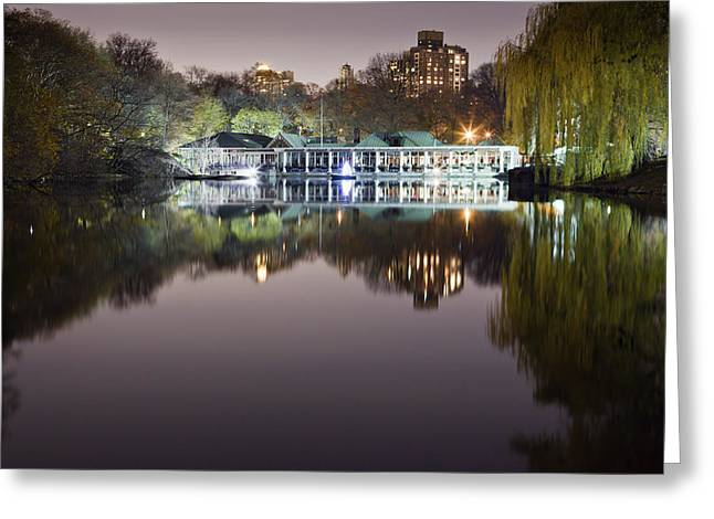 Evening Lights Greeting Cards - Boathouse Reflection Greeting Card by Mike Lang