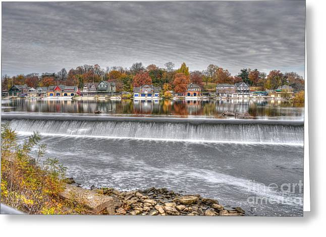 Williams Dam Greeting Cards - Boathouse Row Across the Dam Greeting Card by Mark Ayzenberg