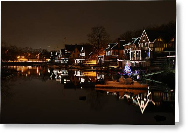 Boathouse Row Greeting Cards - Boathouse Row All Lit Up Greeting Card by Bill Cannon