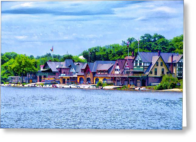 Boathouse Row Along The Schuylkill River Greeting Card by Bill Cannon