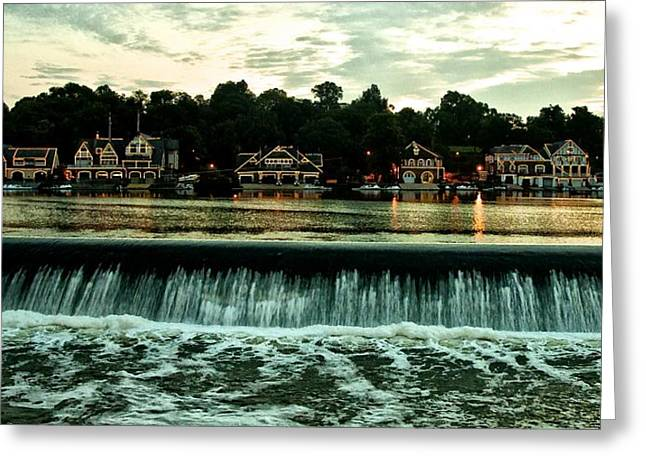 Rowing Crew Digital Art Greeting Cards - Boathouse Row and Fairmount Dam Greeting Card by Bill Cannon