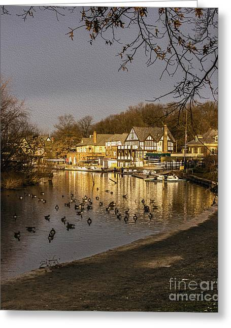 Boat House Row Greeting Cards - Boathouse Row at Dawn Greeting Card by Tom Gari Gallery-Three-Photography