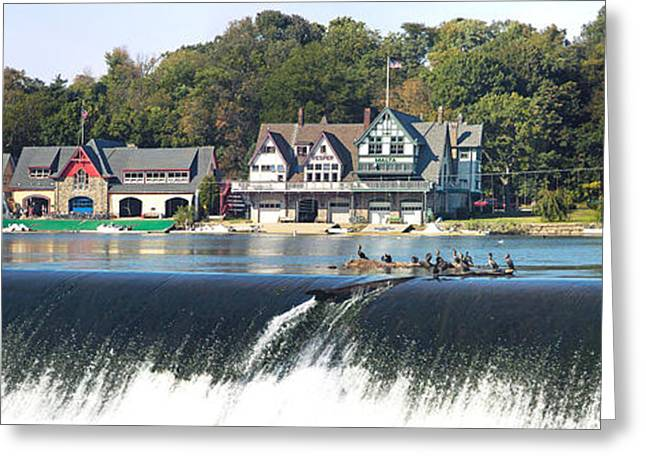 Cormorant Greeting Cards - Boathouse Row At The Waterfront Greeting Card by Panoramic Images