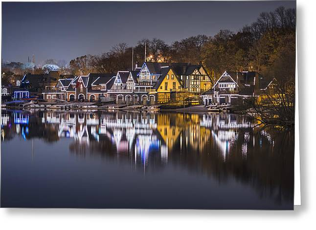 Row Boat Greeting Cards - Boathouse Row Greeting Card by Eduard Moldoveanu
