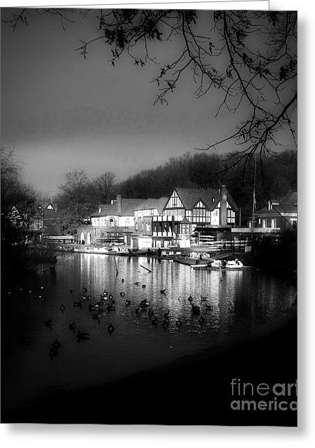 Kelly Greeting Cards - Boathouse Row in Black and White Greeting Card by Tom Gari Gallery-Three-Photography