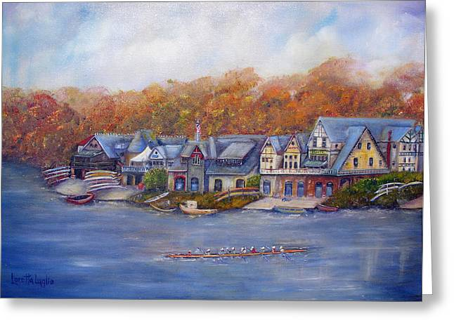 Rowers Paintings Greeting Cards - Boathouse Row In Philadelphia Greeting Card by Loretta Luglio